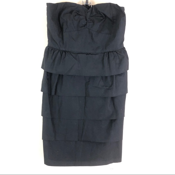 J. Crew Dresses & Skirts - J.Crew Black Strapless Dress Zipper 4 Ruffles